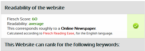 SEORCH SEO Crawler - readability of the website